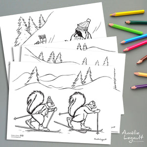 Set of 5 coloring pages, ensemble de 5 coloriages, Amélie Legault, coloriage pour enfants, coloriages pour adultes, coloriage d'hiver, winter coloring, coloring for kids, colouring, coloring for adults, made in canada, canadian artist, fait au québec, animaux de la forêt, sports d'hiver, winter sports, winter activities
