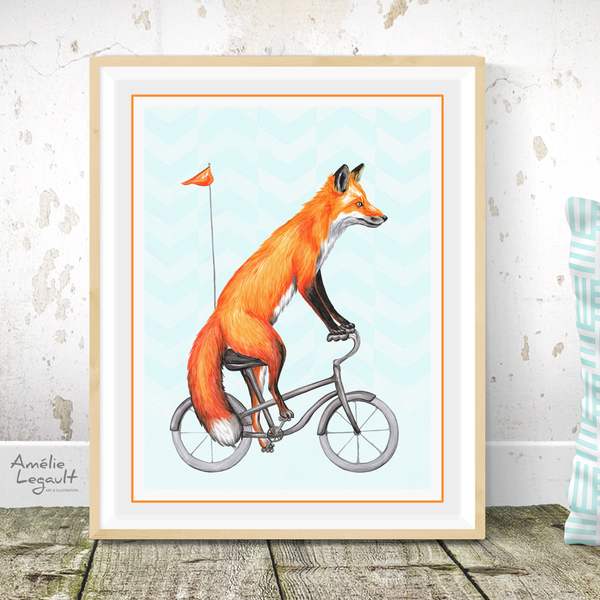 Fox on bike, print, Drawing, Home decor