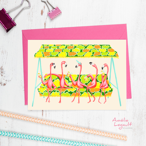 Pink Flamingo Garden Party Card, birthday card