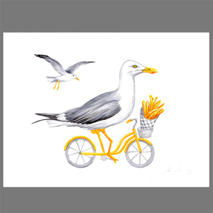Seagulls on a bike - Original Artwork - Amelie Legault