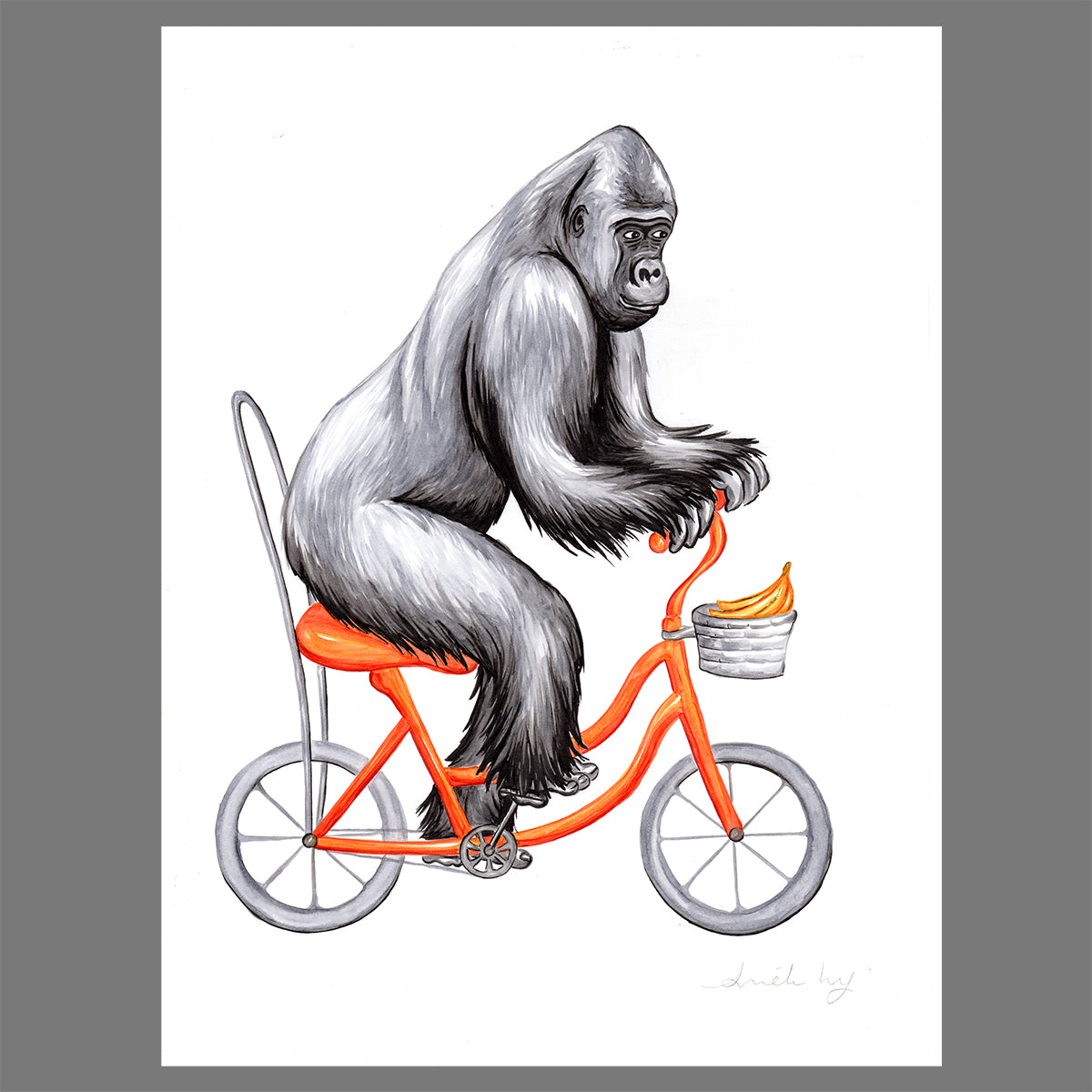 Gorilla on a bike - Original Artwork - Amelie Legault