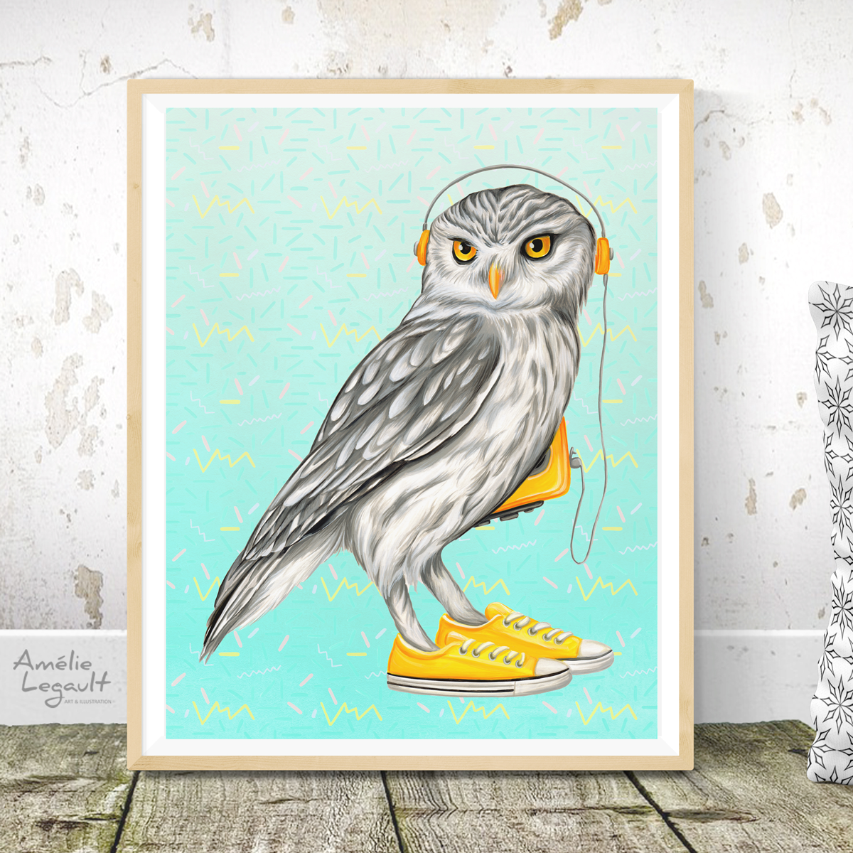 Owl wearing Converse shoes print, painting, home decor