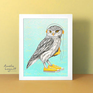 Owl wearing Converse shoes, art print, gouache painting, home decor, owl illustration, owl painting, canadian artist, canadian art, made in canada, converse shoes, converse painting, converse illustration, yellow walkman, sony walkman, 1980s walkman