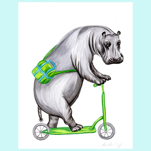 Hippo on a bike - Original Artwork, hippo illustration, amelie legault