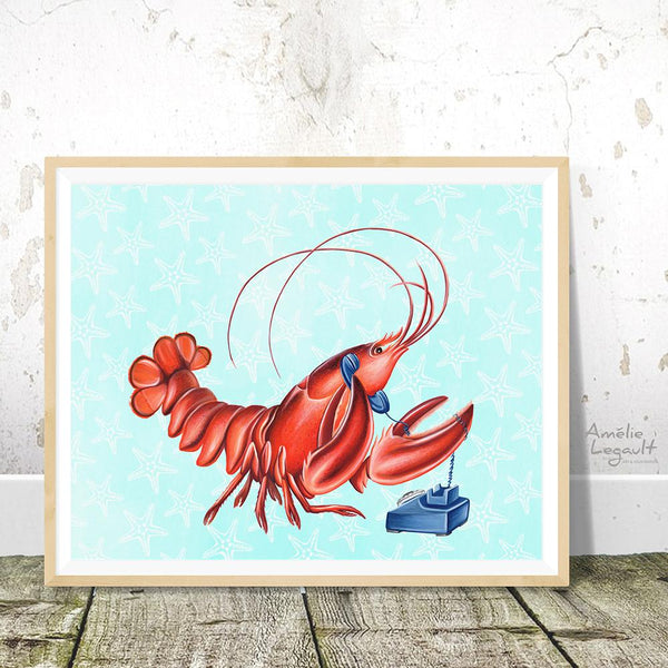 lobster art print, amelie legault, canadian art, canadian artist, canadian animal, sea food, hello print