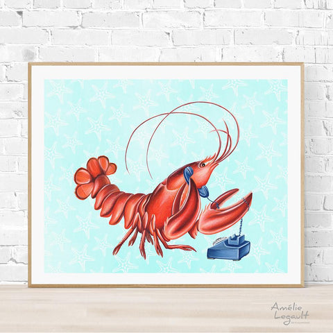 lobster illustation, lobster art, lobster painting, amelie legaultl, vintage phone, rotary phone, phone art, phone illustration, under the sea