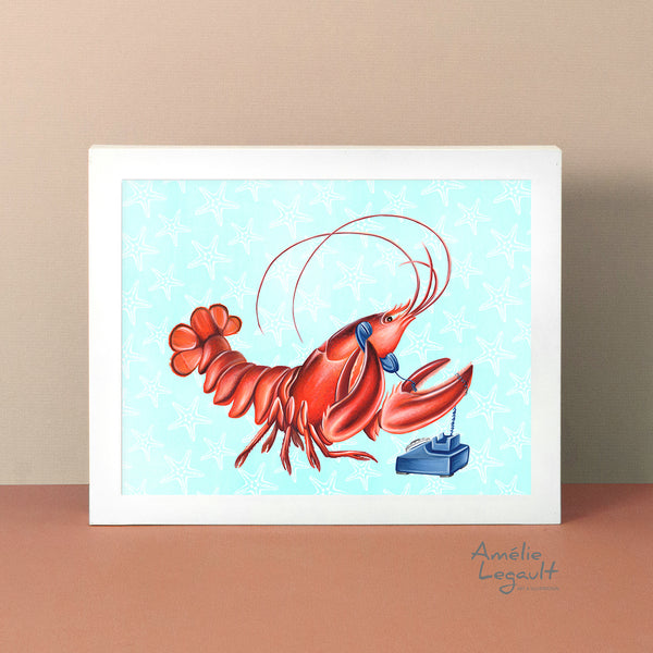 lobster on the phone, lobster card, art print, lobster art work, lobster painting, amelie legault, rotary phone, vintage phone, made in