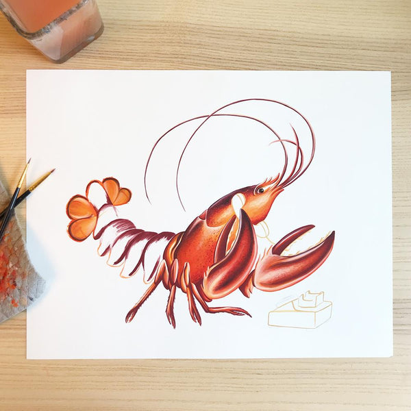 gouache painting, canadian artist, amelie legault, lobster painting, phone painting, sea food illustration, magdalen islands