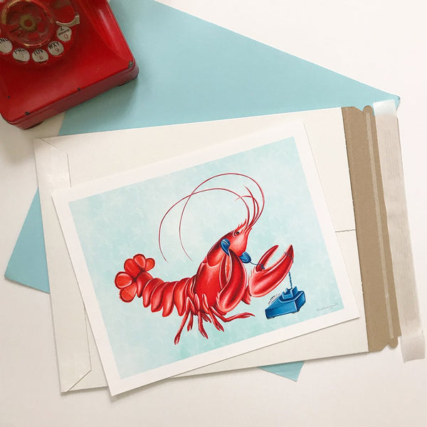 lobster art, lobster painting, lobster illustration, Amelie legault, sea animal, sea food, rotary phone, vintage phone, canadian artist, canadian animal, canadian art