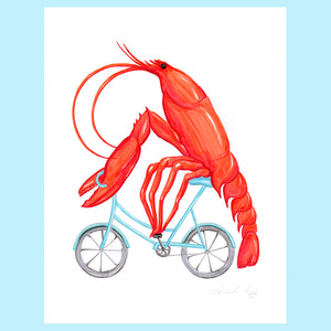 Lobster on a bike - Original Artwork, lobster illustration, amelie legault