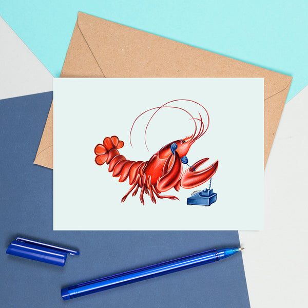 lobster on the phone, lobster card, greeting card, birthday card, amelie legault, rotary phone, vintage phone, made in canada