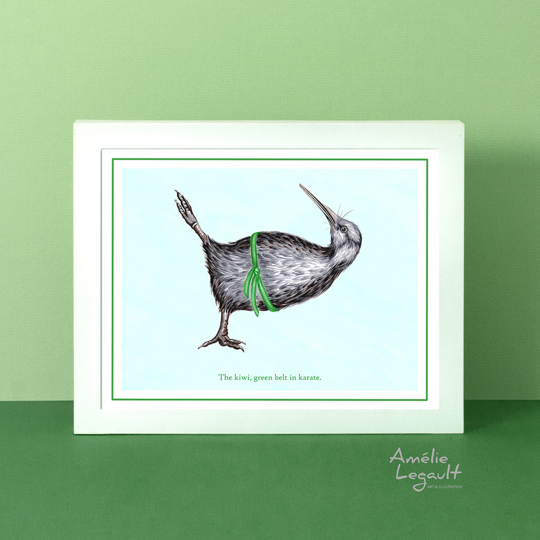 Kiwi bird, karate, art print, home decor, amelie legault, kiwi drawing, kiwi art, kiwi illustration, new zealand