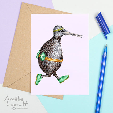 Kiwi bird, jogging, greeting card, birthday card, amelie legault, new zealand