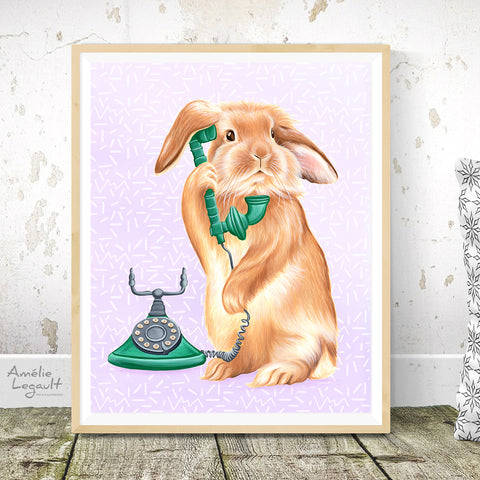 Rabbit on the phone - Art print