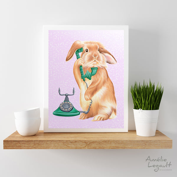 Rabbit illustration, rabbit ont he phone, rotary phone, phone art, amelie legault, hollad hop