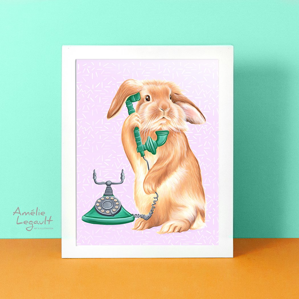 Rabbit illustration, rabbit print, rabbit painting, holland hop, on the phone, art print, vintage phone, rotary phone, amelie legault