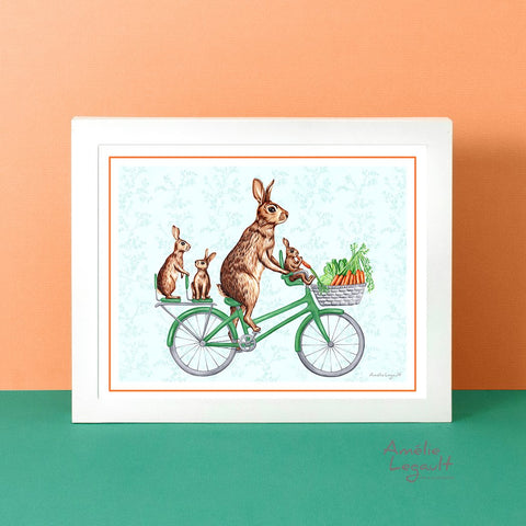 Rabbit family on a bike, art print, bunnies illustration, rabbit decoration, rabbit illustration, rabbit artwork, rabbit print, amelie legault, bicycle print, bicycle artwork
