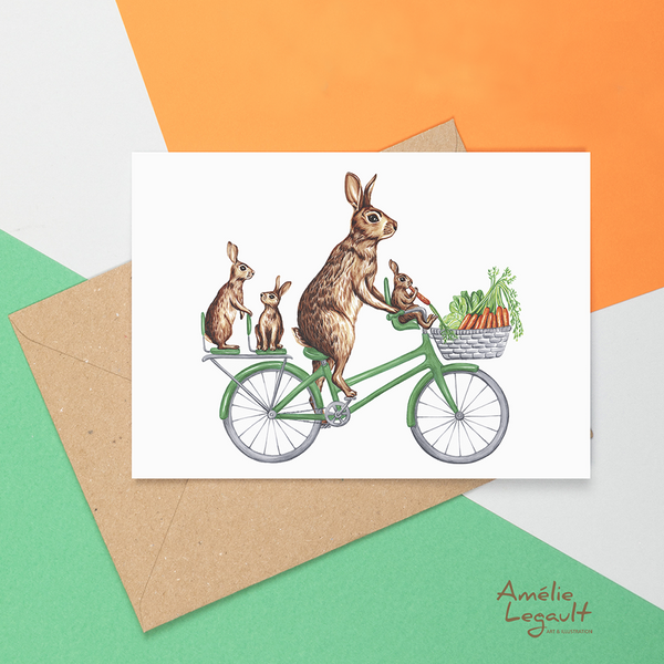 Rabbits on bike card, bunnies
