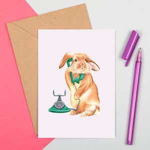 rabbit on the phone, vintage phone, rabbit card, greeting card, amelie legault, birthday card, made in canada, canadian artist