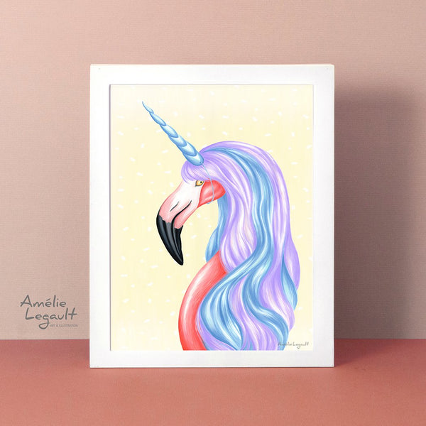 Flamingo illustration, flamingo art, flamingo art print, unicorn art, unicorn illustration, amelie legault, be a flamingo, be a unicorn, art print, unicorn love, unicorn decor, flamingo love, flamingo decor
