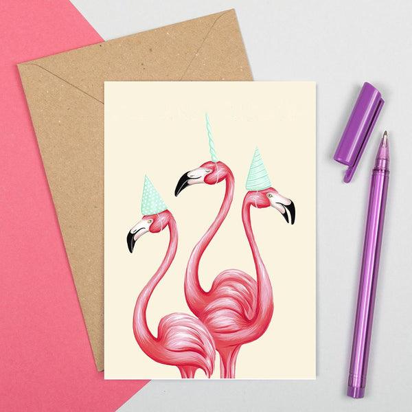 flamingo card, happy birthday card, birthday card, unicorn card, flamingo unicorn, amelie legault, flamingo party, unicorn party