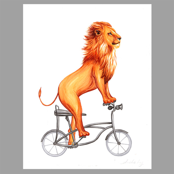 Lion illustration, original artwork, bike, amelie legault