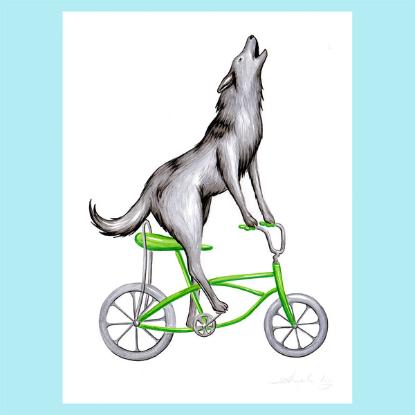 Wolf illustration, Wolf on a bike, Amelie  Legault, original artwork