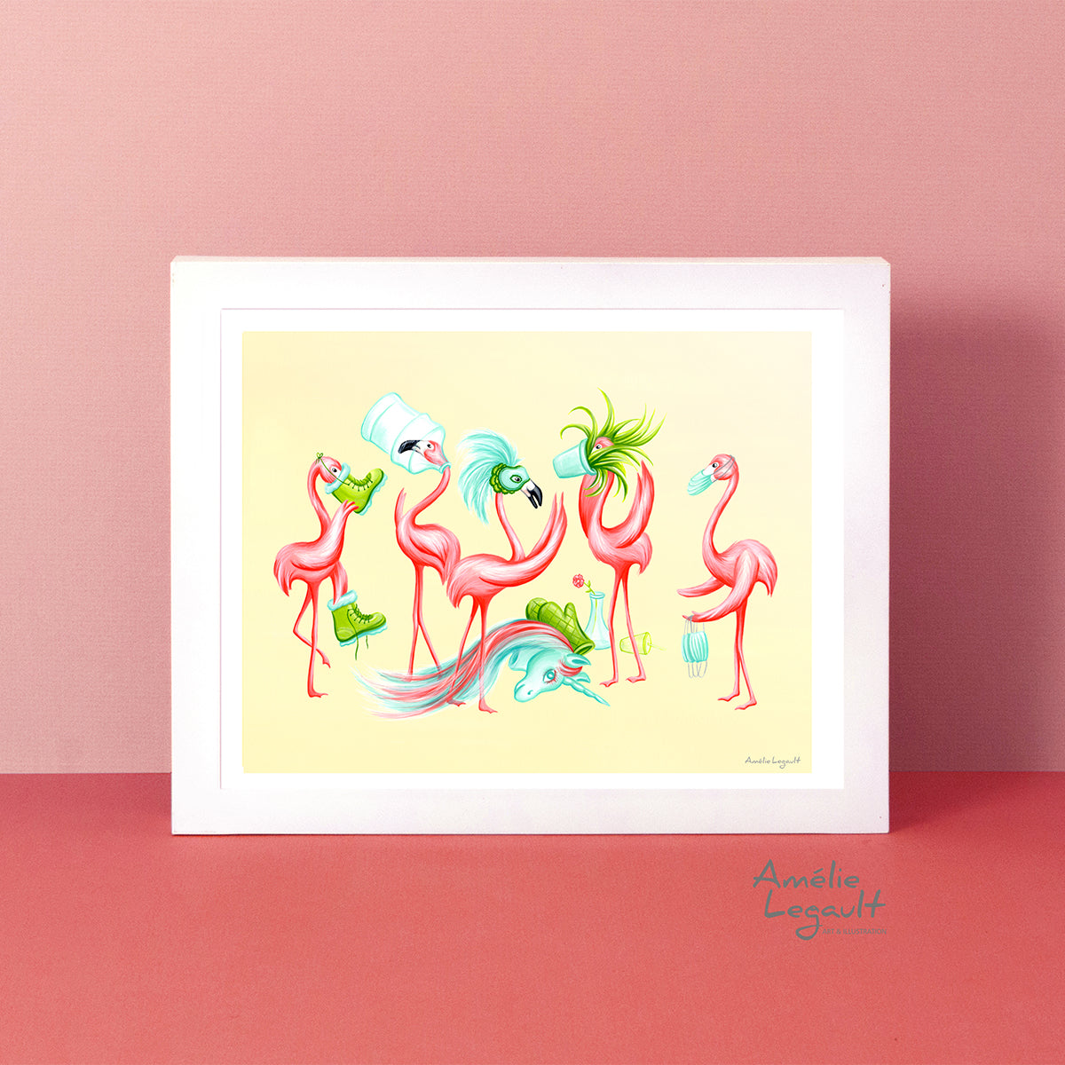Pink flamingos wearing medical mask, flamingo art work, flamingo decor, flamingo party, flamingo love, flamingo theme, pandemic, covid-19 souvenir, amelie legault
