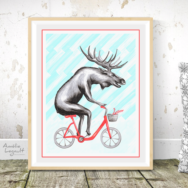 Moose on bike, Print, Drawing