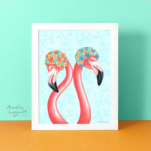 Flamingo art, flamingo love, amelie legault, flamingo illustration, swim caps, art print, flamingo decor