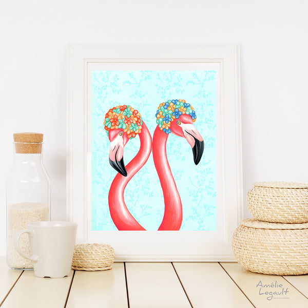 Flamants roses, illustration de flamant, casques de bain, illustration, art, affiche, années 50, amelie legault