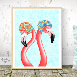 Flamingos with swim caps Print illustration art