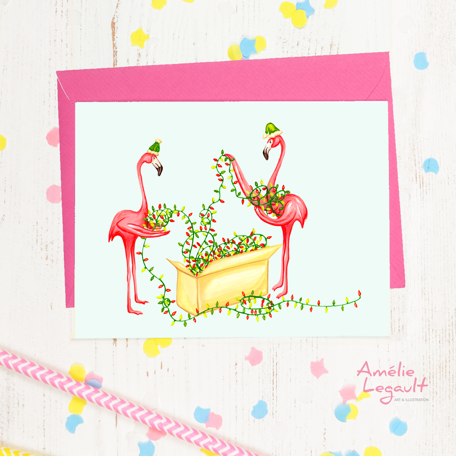 Pink Flamingo Christmas card, holiday card