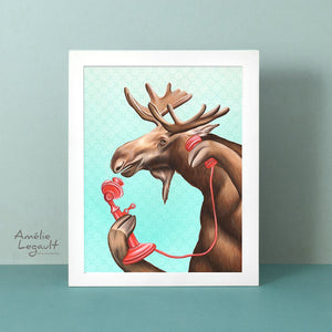 moose illustration, moose art print, canadian art, canadian artist, amelie legault, vintage phone, phone illustration, canadian animal, gouache painting