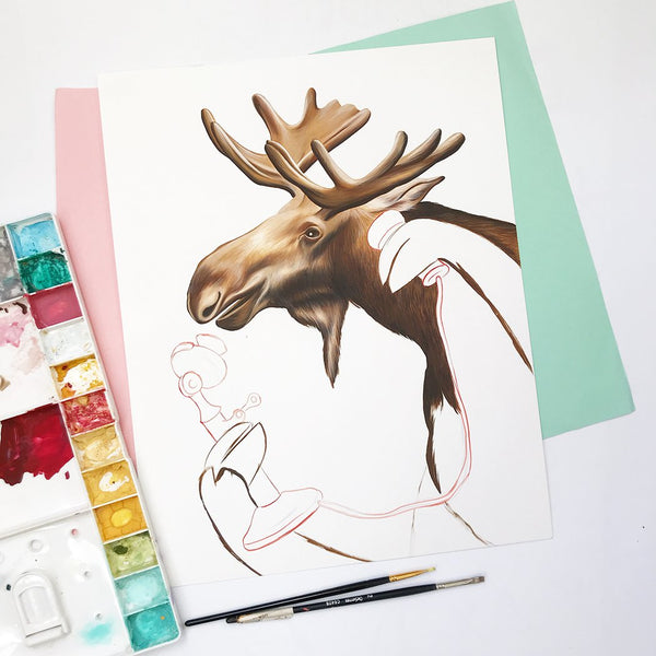 gouache painting, made in canada, canadian artist, canadian art, canadian animal, amelie legault, moose painting