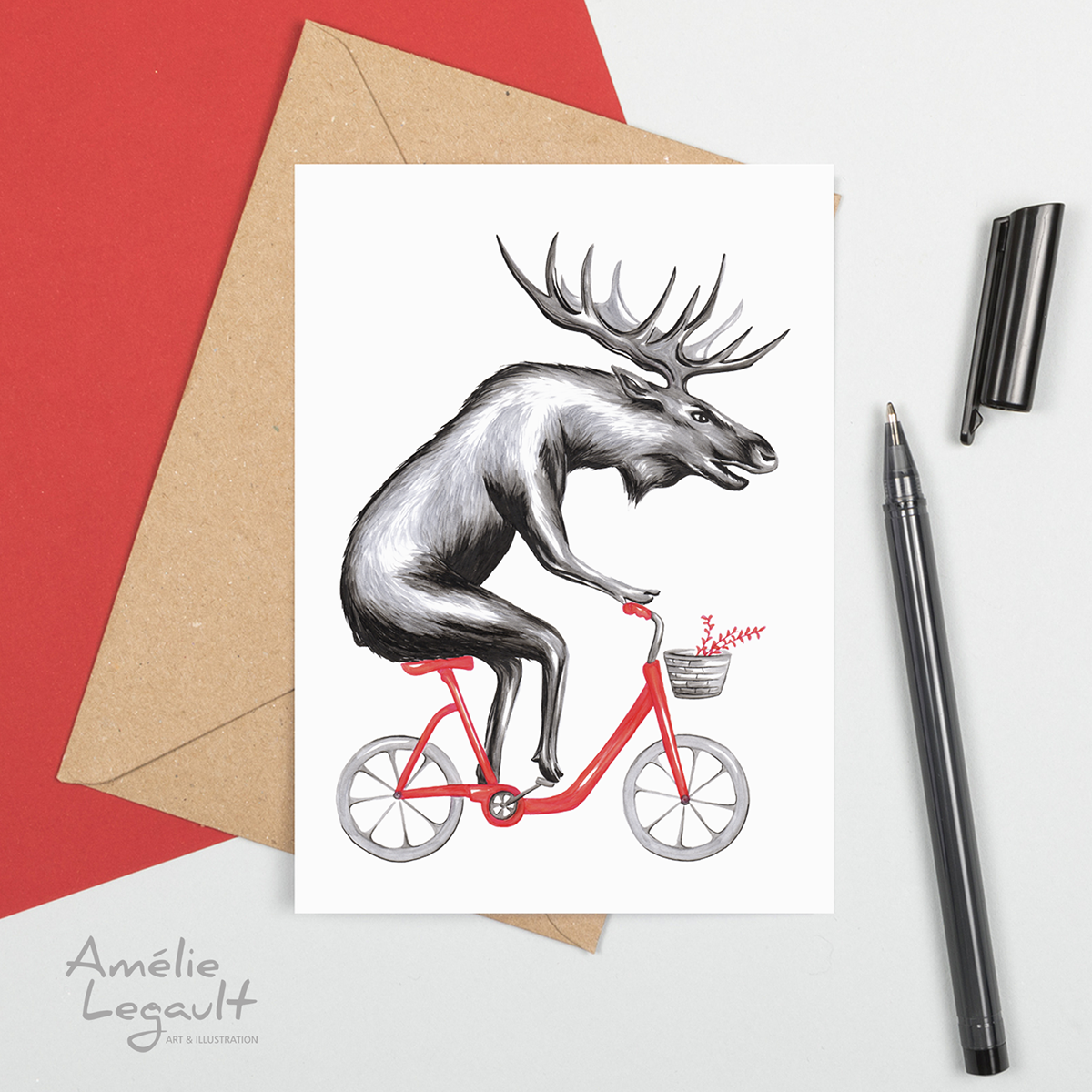 Moose, bike, bicycle, greeting card, birthday card, amelie legault, canada, canadiana, canadian animal, canadian artist