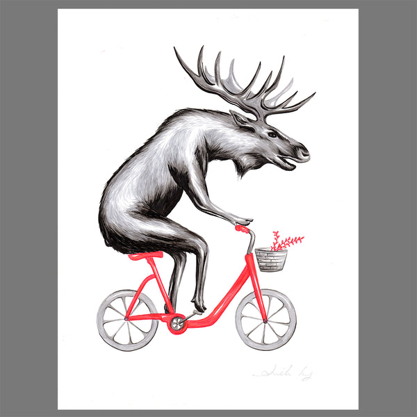 Moose on a bike - Original Artwork- Amelie Legault