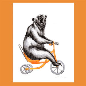 Bear on a bike, Original Artwork, amélie legault, ink-artwork, bear illustration