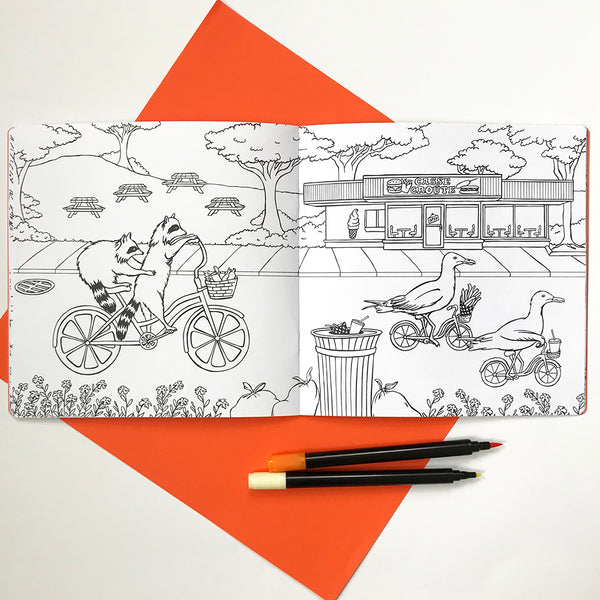 Coloring book, Animals on bikes, amelie legault, canadian animals, raccoon illustration, sea gull illustration, coloring for kids