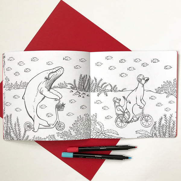 Coloring book, Animals on bikes, Amélie Legault, made in canada, whale illustration, sea lin illustration, under the sea, sea animals, coloring for kids