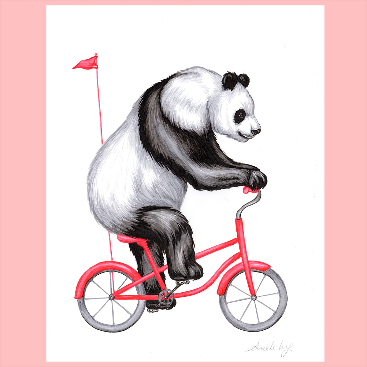 Panda on a bike - Original artwork, panda illustration, amelie legault