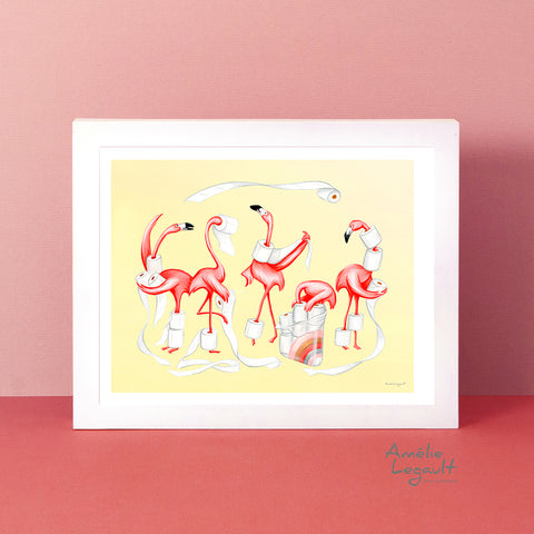 toilet paper hoarders, hoarding toilet paper, self isolation, in this together, amelie legault, art print, flamingo art work, flamingo art print, gouache, bathroom decor, bathroom wall art