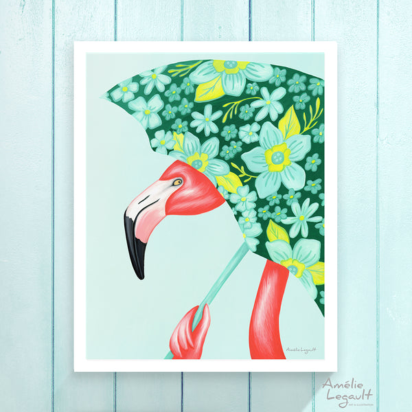 flamant rose, amelie legault, illustration de flamant, illustration de parapluie, parapluie fleuri, affiche de flamant, peinture à la gouache, reproduction