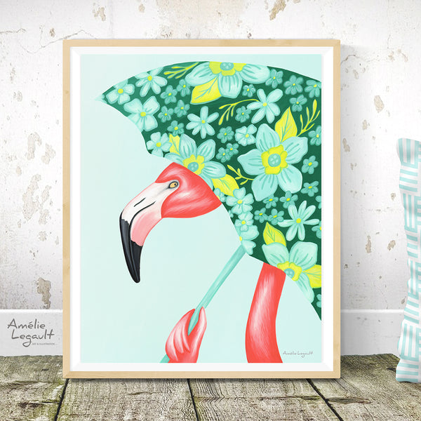 flamingo art, flamingo love, flamingo decor, flamingo illustration, umbrella art, umbrella illustration, amelie legault, flamingo with umbrella, flowered umbrella, rainy days