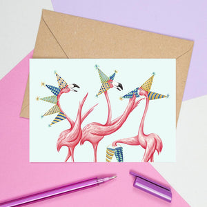 Flamingo birthday card, happy birthday card, flamingo love, flamingo party, flamingo theme, amelie legault