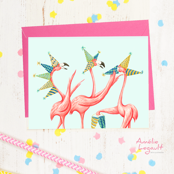 Pink Flamingo, birthday card, amelie legault