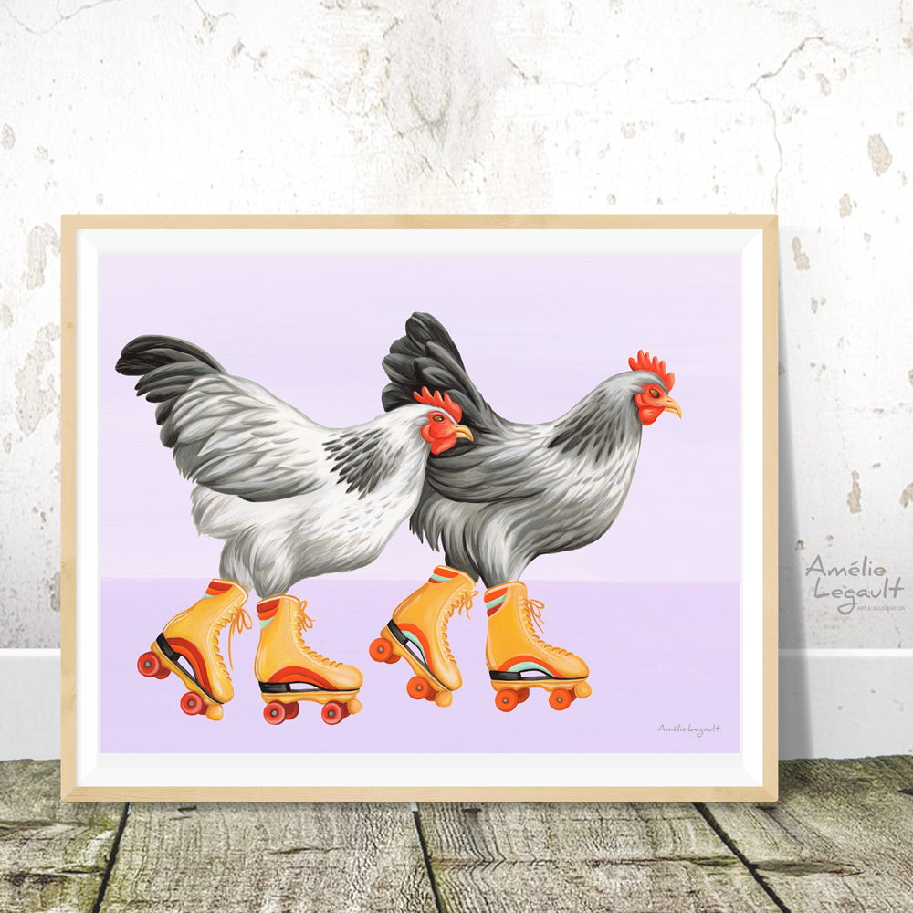 Roller skating Hens, Chickens print, Home Decor, Wall Art