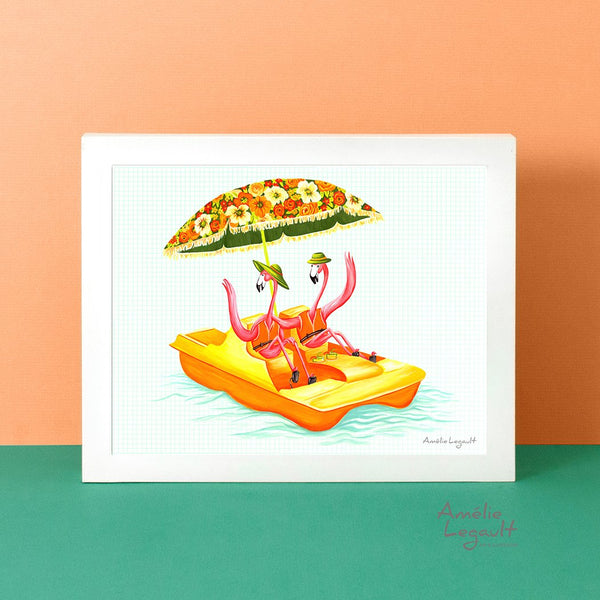 Pink Flamingo, pedal boat, art print, painting, flamingo art, flamingo love, flamingo decor, amelie legault