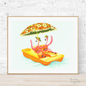 Pink Flamingo on pedal boat, print, painting