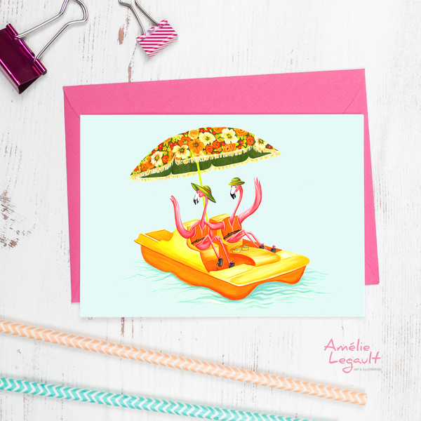 Pink flamingo, pedal boat, greeting card, birthday card, amelie legault
